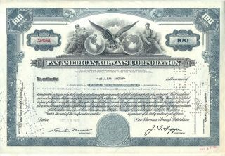 1942 Pan American Airways Corporation Stock Certificate Airline Older Style photo