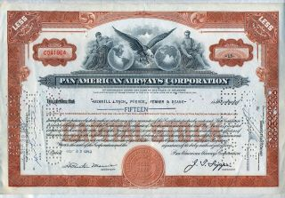 1943 Pan American Airways Corporation Stock Certificate Airline Older Style photo