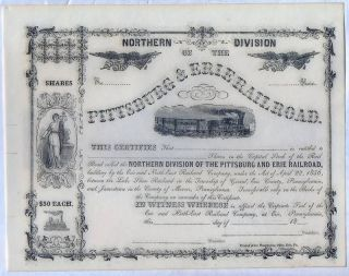 Pittsburgh & Erie Railroad Stock Certificate Civil War Pennsylvania photo