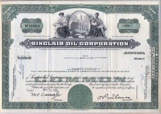 Sinclair Oil Corporation Stock Certificate Green 1960 ' S photo