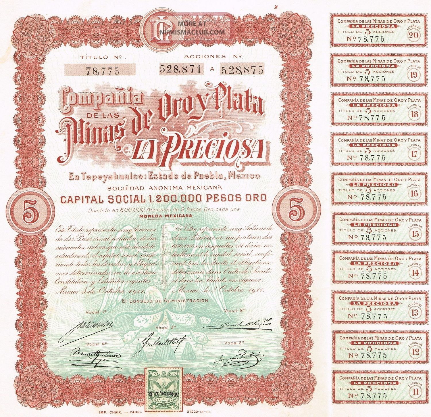 Mexico Mines Of Oroy Plata La Preciosa Company Bond Stock Certificate 1911 World photo