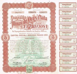Mexico Mines Of Oroy Plata La Preciosa Company Bond Stock Certificate 1911 photo