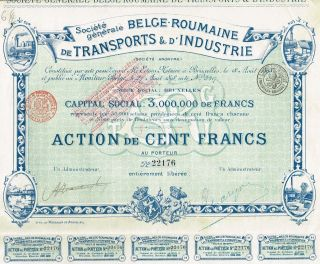 Belgium Romanian Transport & Industry Stock Certificate photo