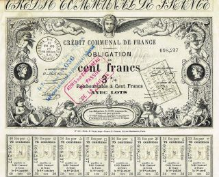 France Credit Company 3 % Bond Stock Certificate 1870 photo
