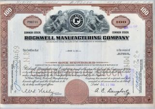 Rockwell Manufacturing Company Stock Certificate Pennsylvania Collins photo