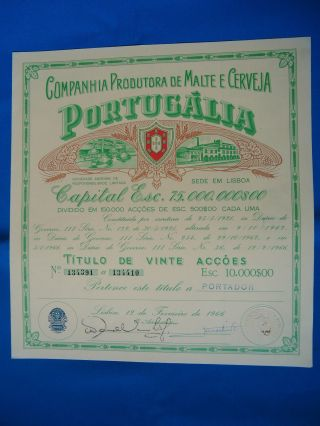 Portugal Share Comp.  Prod.  Malte Cerveja Portugalia 10000 Escudos 1966 Look Scans photo