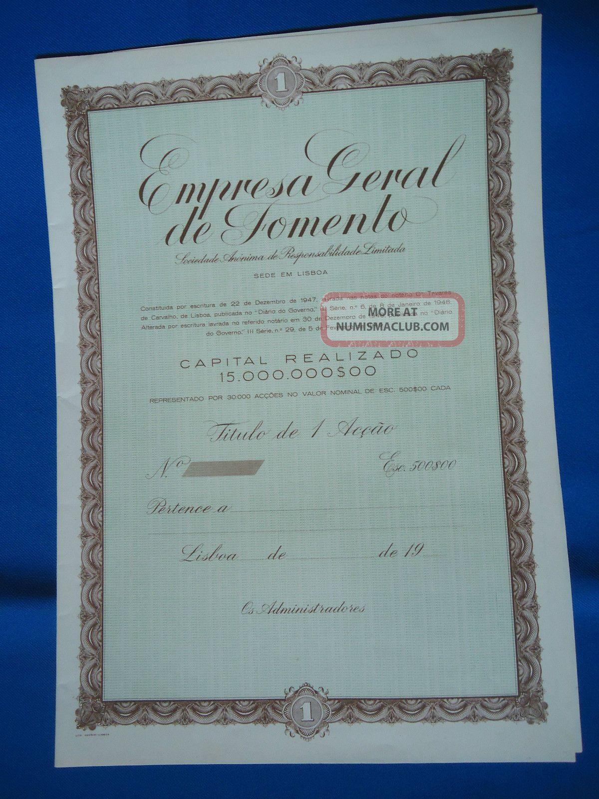 Portugal Share Empresa Geral Fomento 500 Escudos 19?? Look Scans World photo