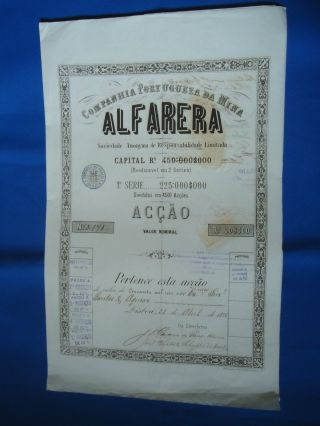 Portugal Share Companhia Portugueza Da Mina Alfarera 50 Mil Reis 1882 Look Scans photo