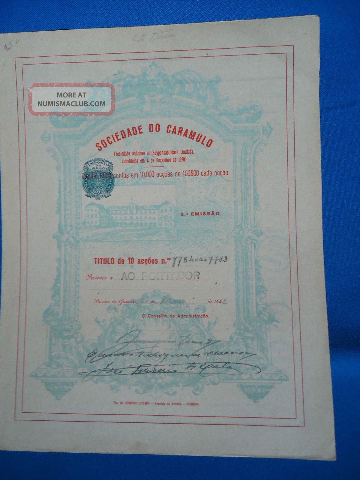Portugal Share Sociedade Do Caramulo 2 EmiÇÃo 100 Escudos 1932 Look Scans World photo