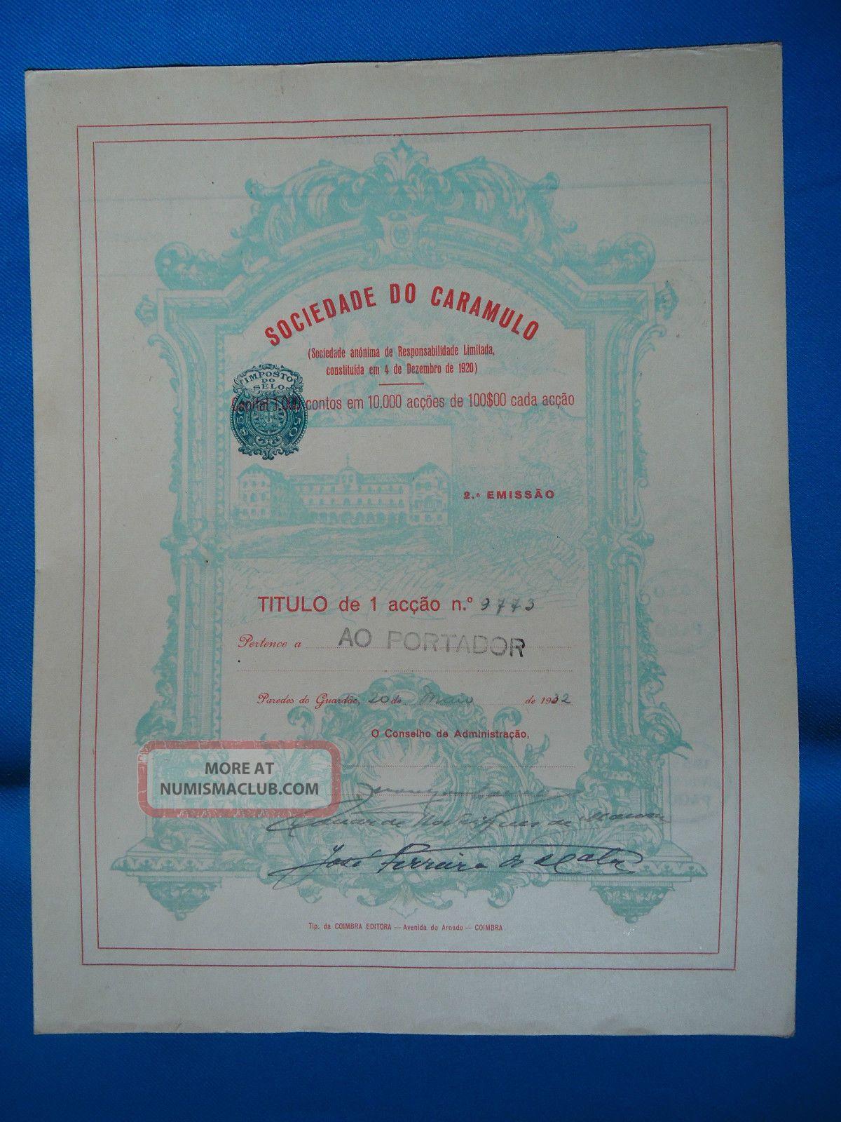 Portugal Share Sociedade Do Caramulo 2 EmiÇÃo 1000 Escudos 1932 Look Scans World photo