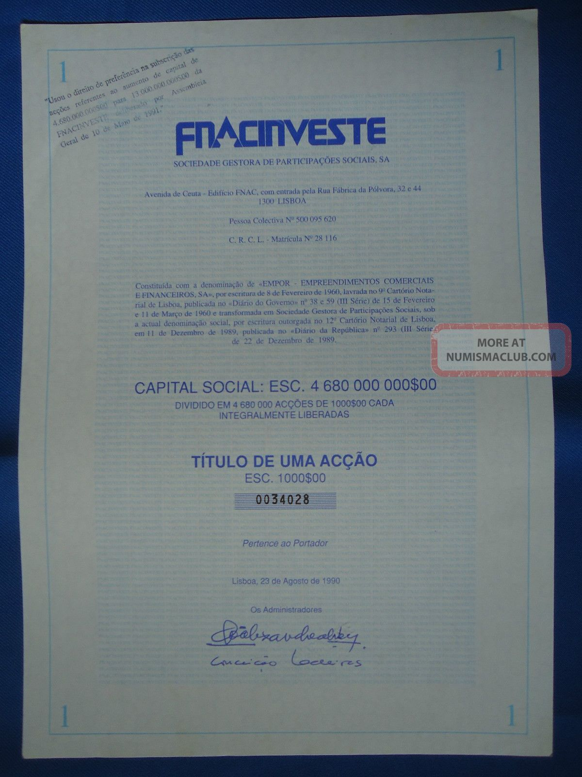 Portugal Share Fnac Investe 1000 Escudos 1990 Look Scans World photo