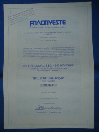 Portugal Share Fnac Investe 1000 Escudos 1990 Look Scans photo