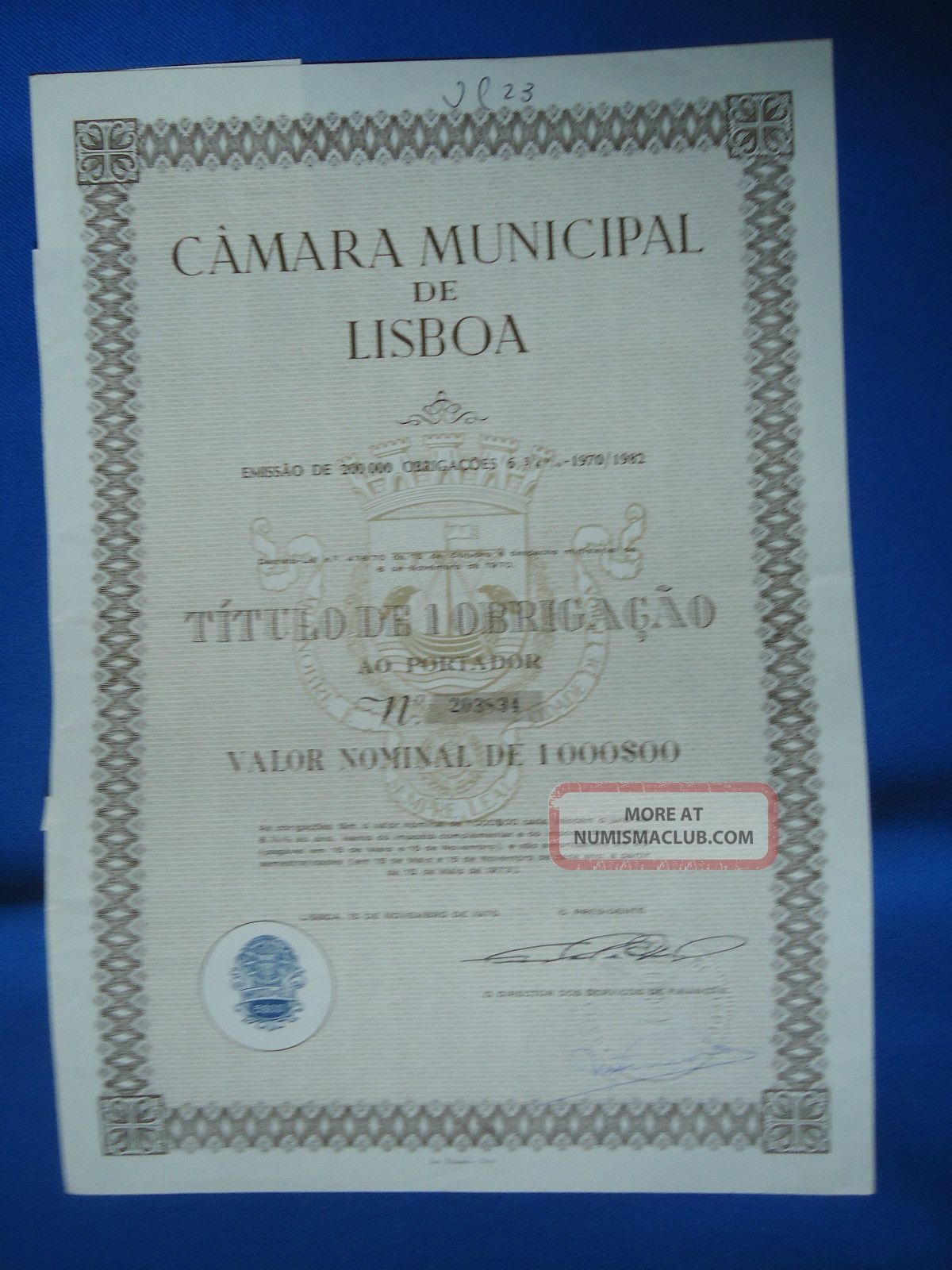 Portugal Share Camara Municipal De Lisboa 1000 Escudos 1970 Look Scans World photo