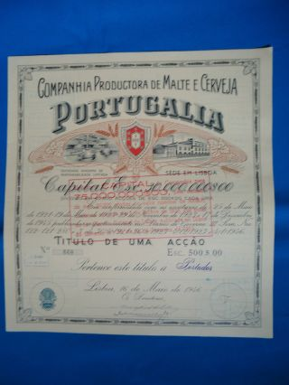 Portugal Share Comp.  Prod.  Malte Cerveja Portugalia 500 Escudos 1946 Look Scans photo