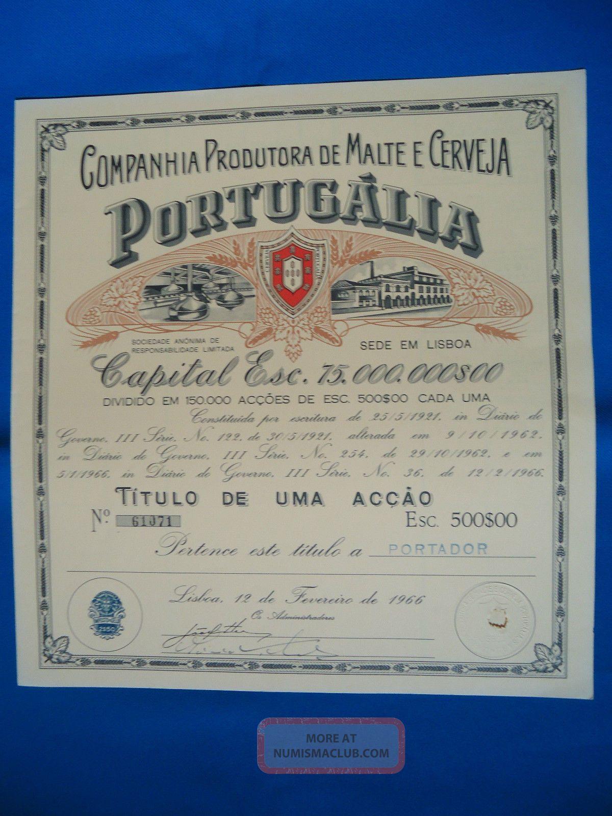 Portugal Share Comp.  Prod.  Malte Cerveja Portugalia 500 Escudos 1966 Look Scans World photo