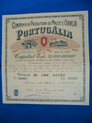 Portugal Share Comp.  Prod.  Malte Cerveja Portugalia 500 Escudos 1966 Look Scans photo