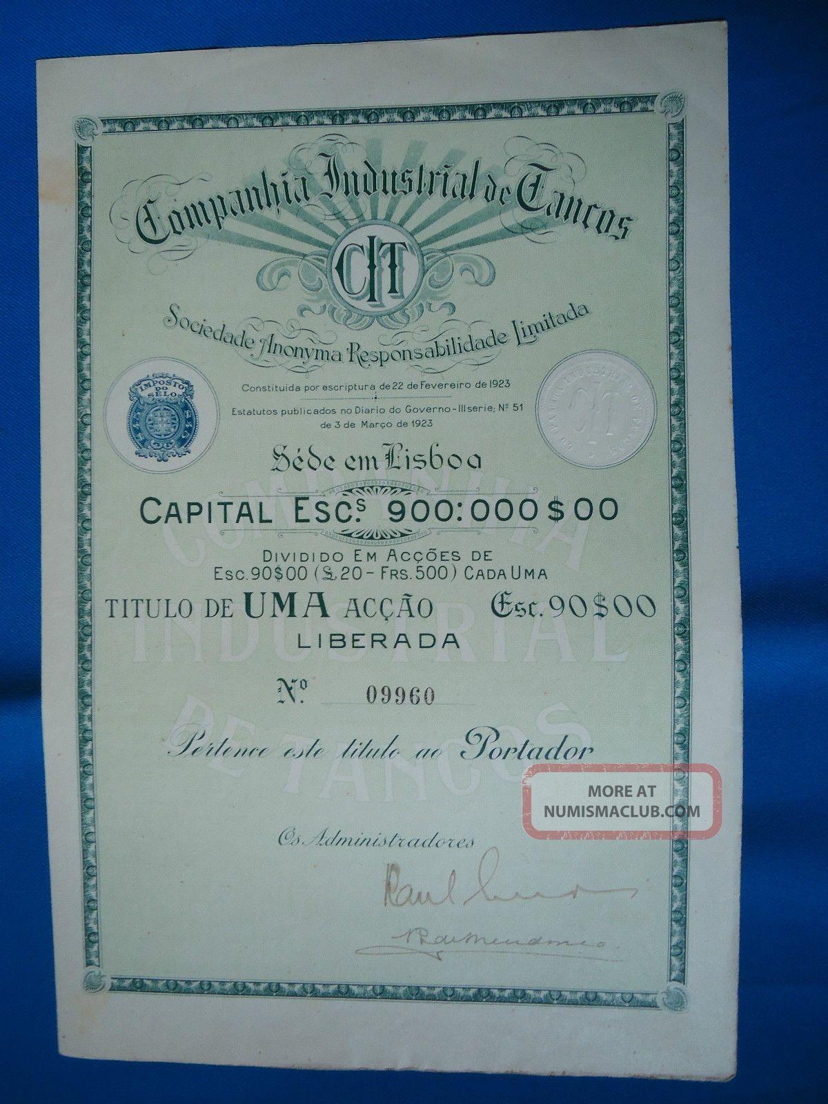 Portugal Share Companhia Industrial De Tancos 90 Escudos 1923 Look Scans World photo