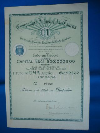 Portugal Share Companhia Industrial De Tancos 90 Escudos 1923 Look Scans photo