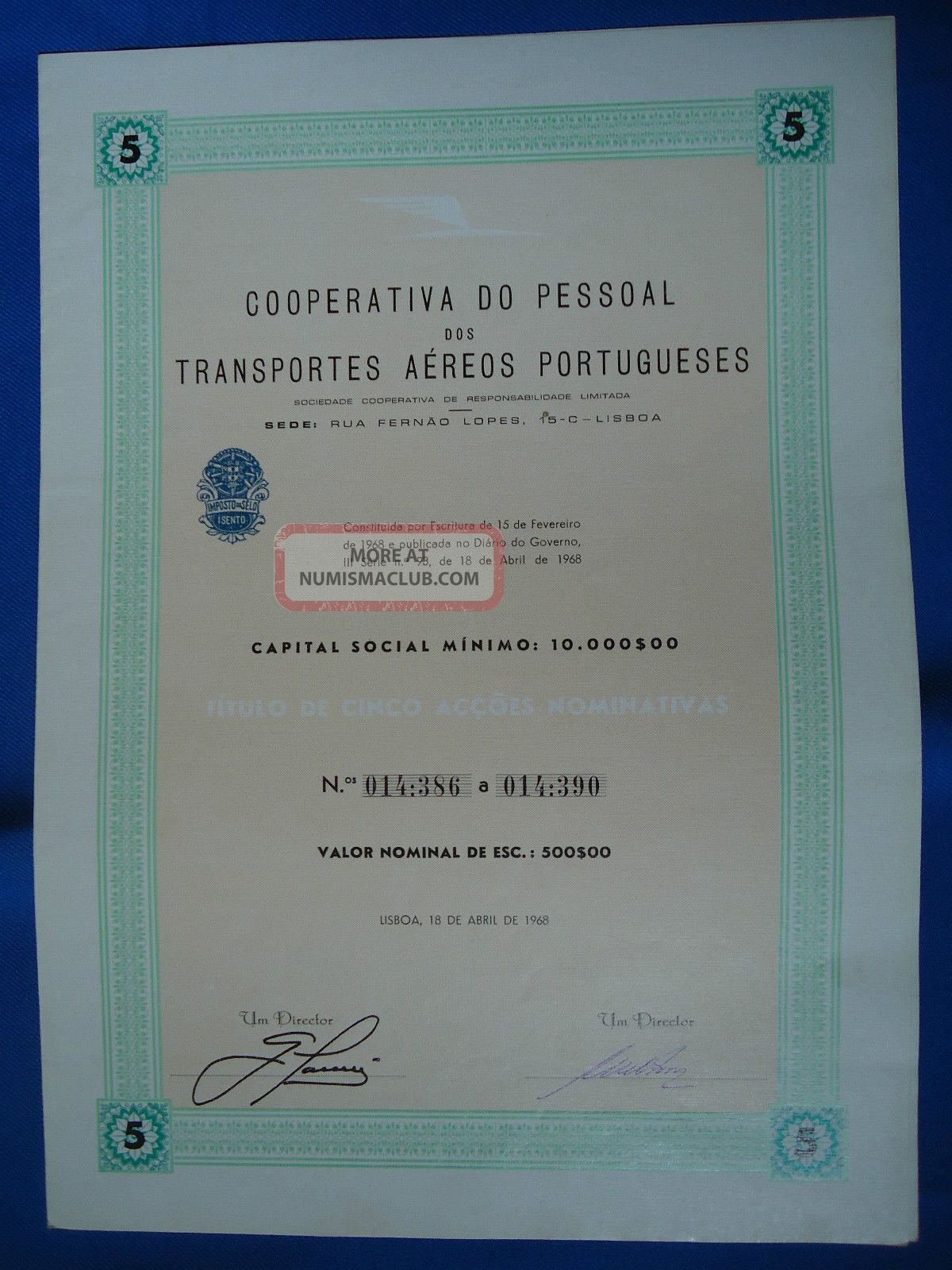 Portugal Share Coop.  P.  Trans.  Aereos Portugueses Tap 500 Escudos 1968 Look Scans World photo