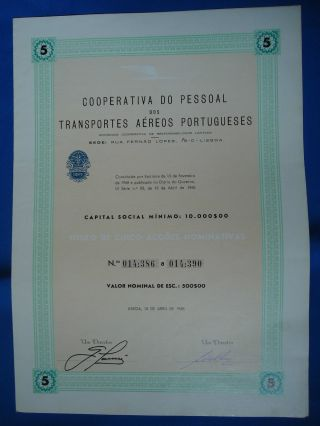 Portugal Share Coop.  P.  Trans.  Aereos Portugueses Tap 500 Escudos 1968 Look Scans photo