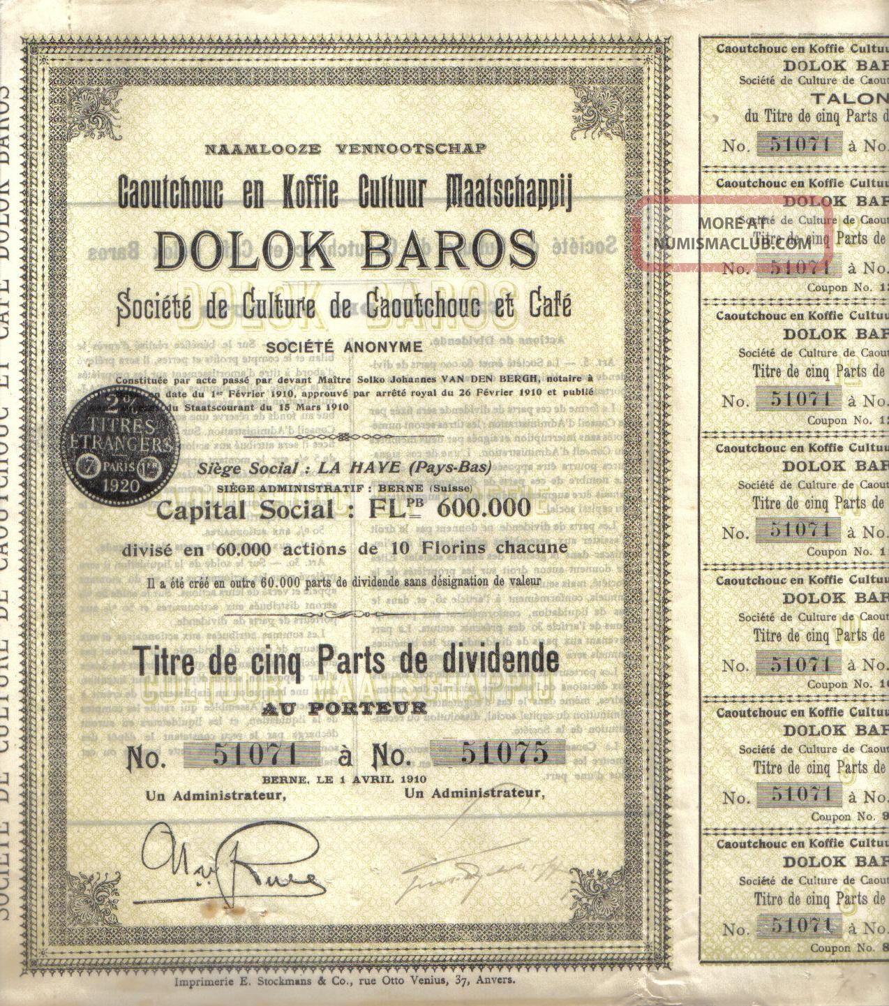 Netherlands Sumatra 1927 Caoutchouc Rubber Coffee Dolok Baros Co Uncancelled