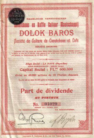 Netherlands Sumatra 1919 Caoutchouc Rubber Coffee Dolok Baros Co Uncancelled photo