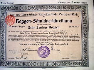 Germany German 1923 Roggen - Schuldverlchreibung 20 Zentner Roggen Bond Share photo