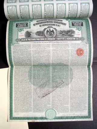 Mexico 1908 Uncancelled Agriculture Irrigation Prestamo 100 Usd Gold Bond Loan photo