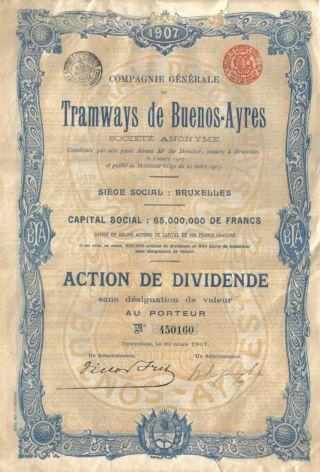 Argentina Bond Tramways Buenos Aires 1907 Dividende Deco Belgium Issue photo