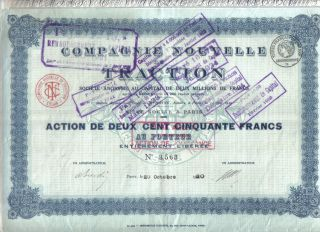 France 1920 Action Compagnie Nouvelle Traction S.  A.  250 Fr Coupons Issue 8.  000 photo