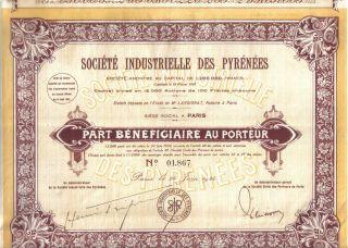 France Societe Industrielle Des Pyrenees 1924 Part Benef Coupons Uncancelled photo