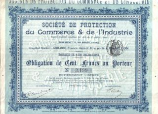 France 1897 Ste Protection Commerce Industrie 100 Fr Coup Issue 6000 Uncancelled photo