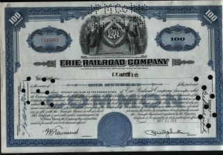 Usa - 100 Dollars Share,  Erie Railroad Company,  Void photo