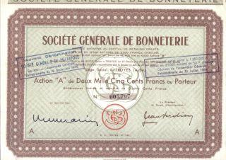France 1950 Societe Generale Bonneterie Action A 2.  500 Fr Coupons Troyes Aube photo