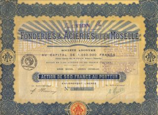 France 1927 Fonderies & Acieries Moselle 500 Francs Coupons Sierck Issue 2500 photo