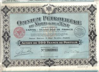 France 1927 Omnium Petrolifere Nord & Est Oil 500 Francs Coupons Uncancelled photo