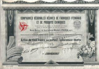 France 1933 Regionales Reunies Fabriques D ' Engrais Produits Chimiques 100 F Deco photo