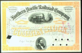 Fancy Number Of Five 5 ' S (a55555) Northern Pacific Railroad Certificate 1896 photo