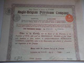 Uk Gb Belgium 1928 Anglo Belgian Petroleum Company 5 Shares £5 Uncancelled Coup photo