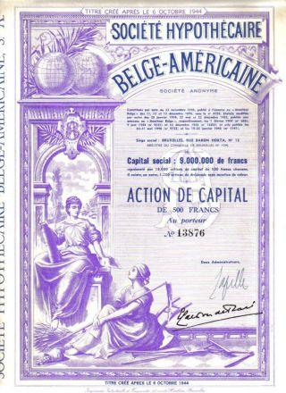 Belgium American Usa 1944 Mortgage Company 500 Fr Uncancelled Top Deco photo