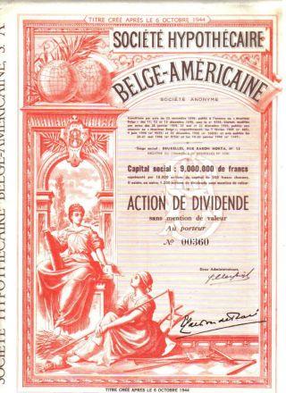 Belgium American Usa 1944 Mortgage Company Scarce Uncancelled Top Deco photo