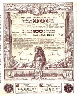 Belgium Bond City Ghent Gand 1896 100 Fr Uncancelled Top Deco Coupons photo
