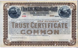 Choctaw Oklahoma & Gulf Railroad Company Stock Certificate 100 Shares photo