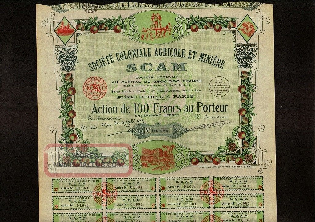 Africa / France Agricole & Miniere Scam Dd 1938 Paris World photo