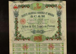 Africa / France Agricole & Miniere Scam Dd 1938 Paris photo