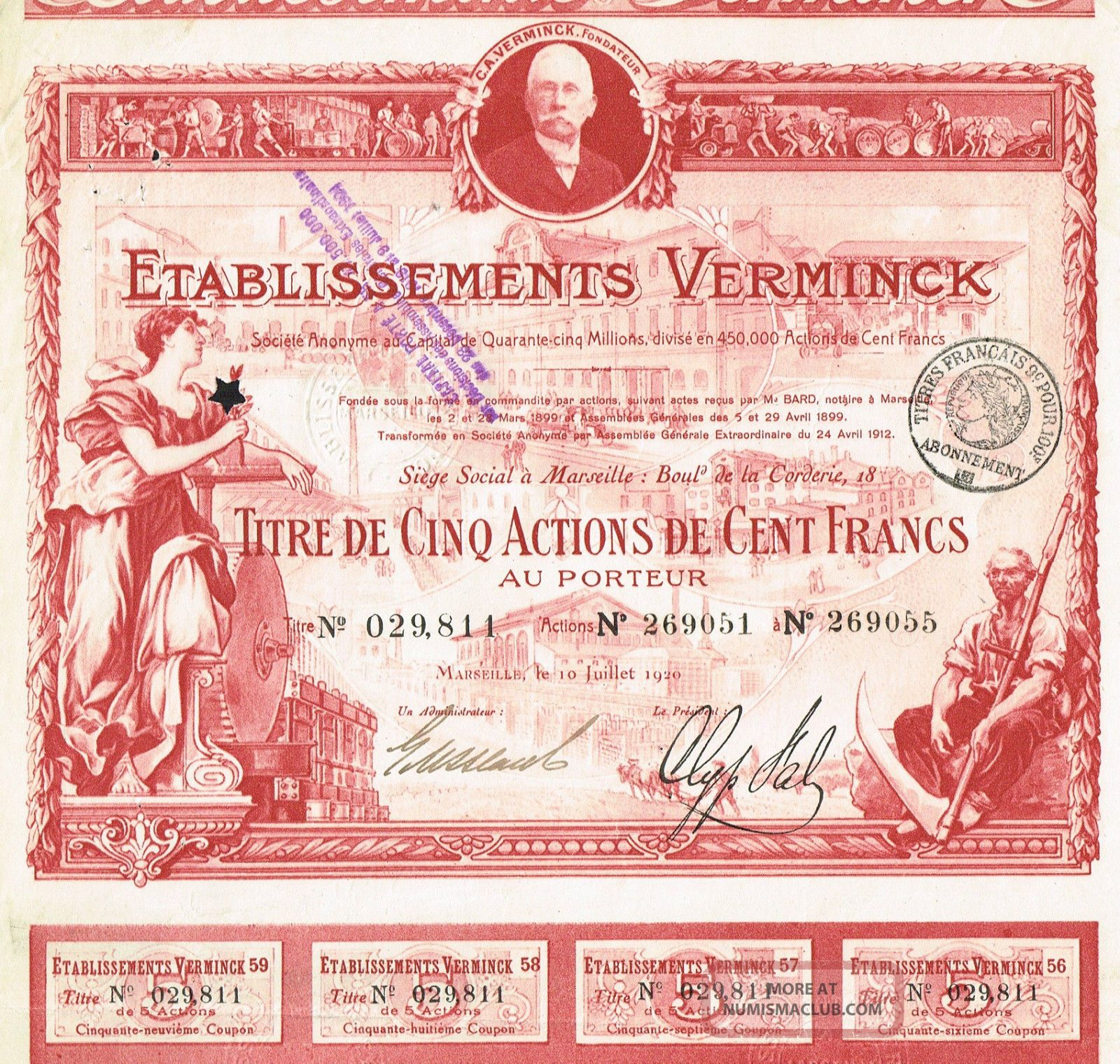 France Wine & Agriculture Stock Certificate Red 1920 Verminck World photo