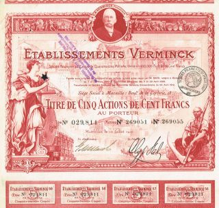 France Wine & Agriculture Stock Certificate Red 1920 Verminck photo