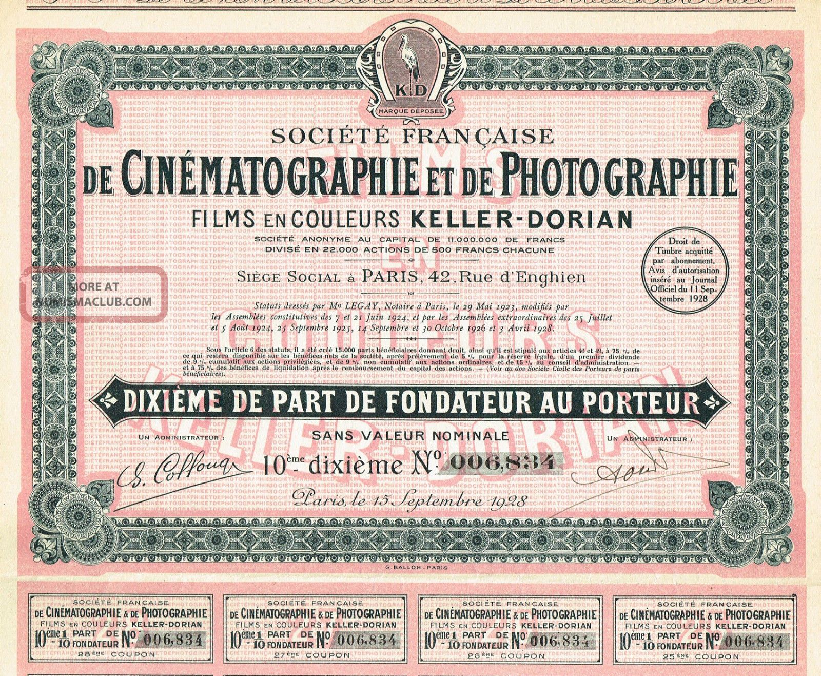 France Cinematography & Photography Company Stock Certificate 1928 World photo