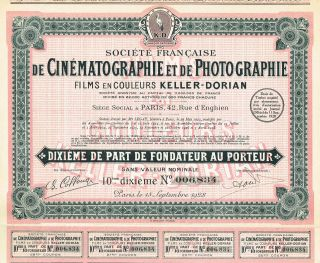 France Cinematography & Photography Company Stock Certificate 1928 photo