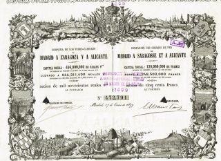 Spain Madrid,  Zaragoza,  Alicante Railway Stock Certificate 1899 photo